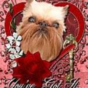 Valentines - Key To My Heart Brussels Griffon Art Print