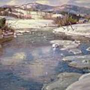 Valley Stream In Winter Art Print