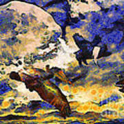 Van Gogh.s Flying Pig Art Print by Wingsdomain Art and Photography