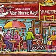 Van Horne Bagel Next To Yangste Restaurant Montreal Streetscene Art Print