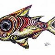 Variegated Red Fish In Stipple Art Print