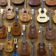 Various Guitars & Ukuleles Hanging From Wall Art Print