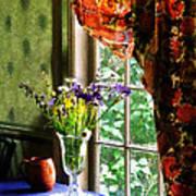 Vase Of Flowers And Mug By Window Art Print