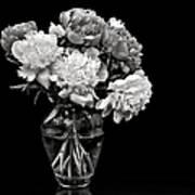 Vase Of Peonies In Black And White Art Print
