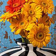 Vase With Gerbera Daisies  Art Print