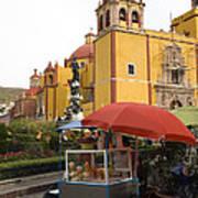 Vending Cart Outside Of The Basilica De Art Print by Krista Rossow