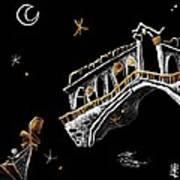 Venice Art T-shirt Design Rialto Nacasona Fashion Line - Arte Disegno Maglietta Venezia Italia Art Print