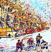 Verdun Street Hockey Game Goalie Makes The Save Classic Montreal Winter Scene Art Print
