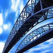 Very Blue Water Bridge  Art Print