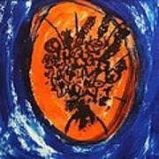 Victorian Contemporary Flowers In Blue And Orange Vortex Swirls Acrylic Monoprint Serigraph Art Print