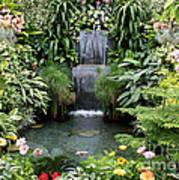 Victorian Garden Waterfall - Digital Art Art Print