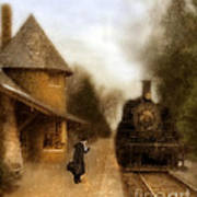 Victorian Woman At Train Station Art Print