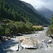 View Along River Marpha To Ghasa Art Print