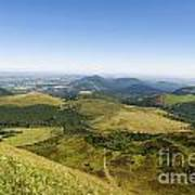View From Puy De Dome Onto The Volcanic Landscape Of The Chaine Des Puys. Auvergne. France Art Print