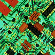 View Of A Circuit Board From An Alarm System Art Print by Chris Knapton
