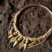 View Of A Golden Celtic Necklace During Excavation Print by Volker Steger