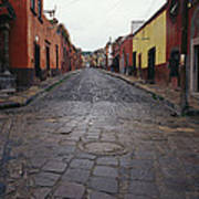 View Of Cobblestone Streets In San Art Print