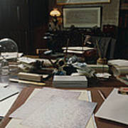 View Of Darwin's Desk At Down House Art Print by Volker Steger