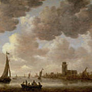 View Of Dordrecht Downstream From The Grote Kerk Art Print