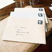 View Of Letters Addressed To Darwin On His Desk Art Print
