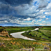 View Of River With Storm Clouds Art Print