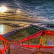 View Of Sun Into Sea At Marin Headlands Art Print