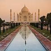 View Of Taj Mahal Reflecting In Pond Art Print