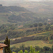 View Over The Tuscan Hills From San Gimignano Italy Art Print