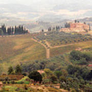 Villa On A Hill In Tuscany Art Print