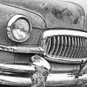 Vintage 1951 Nash Ambassador Front End 2 Bw Art Print
