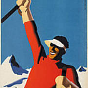 Vintage Austrian Skiing Travel Poster Art Print