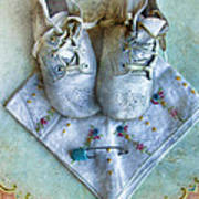 Vintage Baby Shoes And Diaper Pin On Handkercheif Art Print