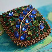 Vintage Blue And Green Rhinestone Brooch On Watercolor Art Print