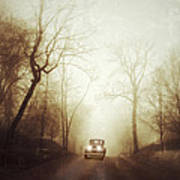 Vintage Car On Foggy Rural Road Art Print by Jill Battaglia