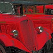 Vintage Fire Truck Techno Art Art Print