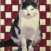 Vintage French Bistro Cat Art Print by Flo Karp