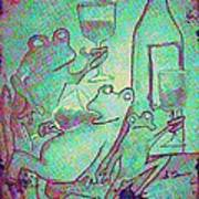 Vintage Green Inebriated Frogs Art Print