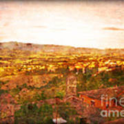 Vintage  Landscape Florence Italy Art Print