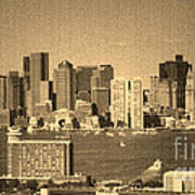 Vintage Style Boston Skyline 2 Art Print