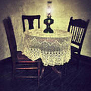 Vintage Table And Chairs By Oil Lamp Light Art Print by Jill Battaglia