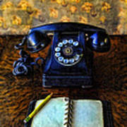 Vintage Telephone And Notepad Art Print