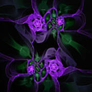 Violet Floral Edgy Abstract Art Print