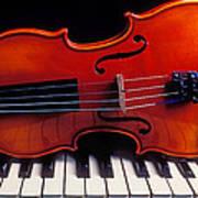Violin On Piano Keys Art Print by Garry Gay