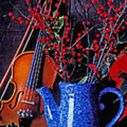 Violin With Blue Pot Art Print by Garry Gay