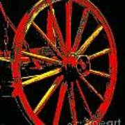 Wagon Wheel In Red Art Print