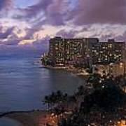 Waikiki At Night Art Print
