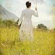 Walking On The Meadow Art Print
