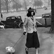 Walking The Dog Print by H F Davis