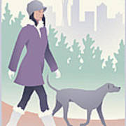 Walking The Dog In Seattle Art Print