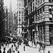 Wall Street Looking Toward Old Trinity Church - New York City - C 1910 Art Print